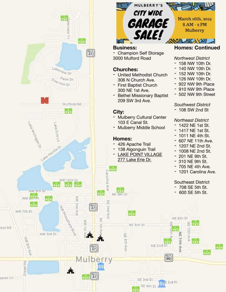 City Wide Garage Sale Map » City of Mulberry